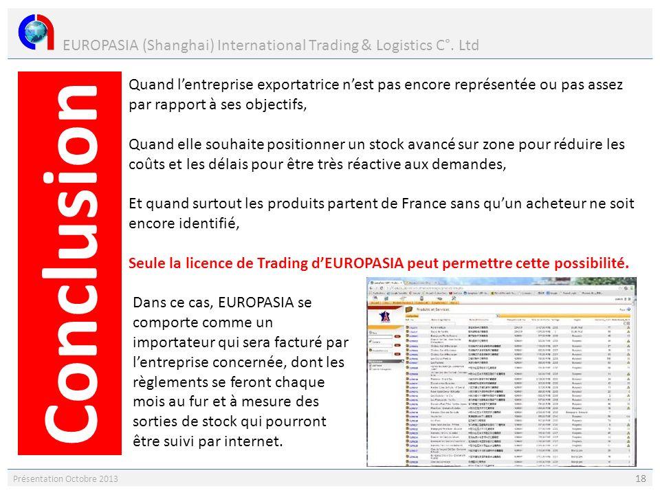 EUROPASIA (Shanghai) International Trading & Logistics C°. Ltd Présentation Octobre 2013 18 Quand lentreprise exportatrice nest pas encore représentée