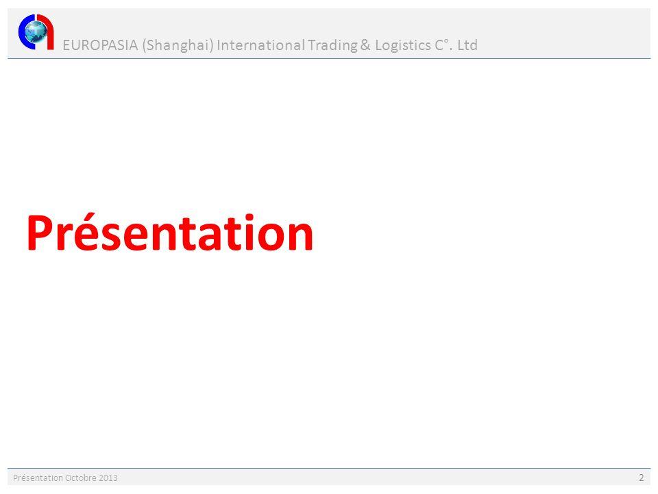EUROPASIA (Shanghai) International Trading & Logistics C°. Ltd Présentation Octobre 2013 2 Présentation