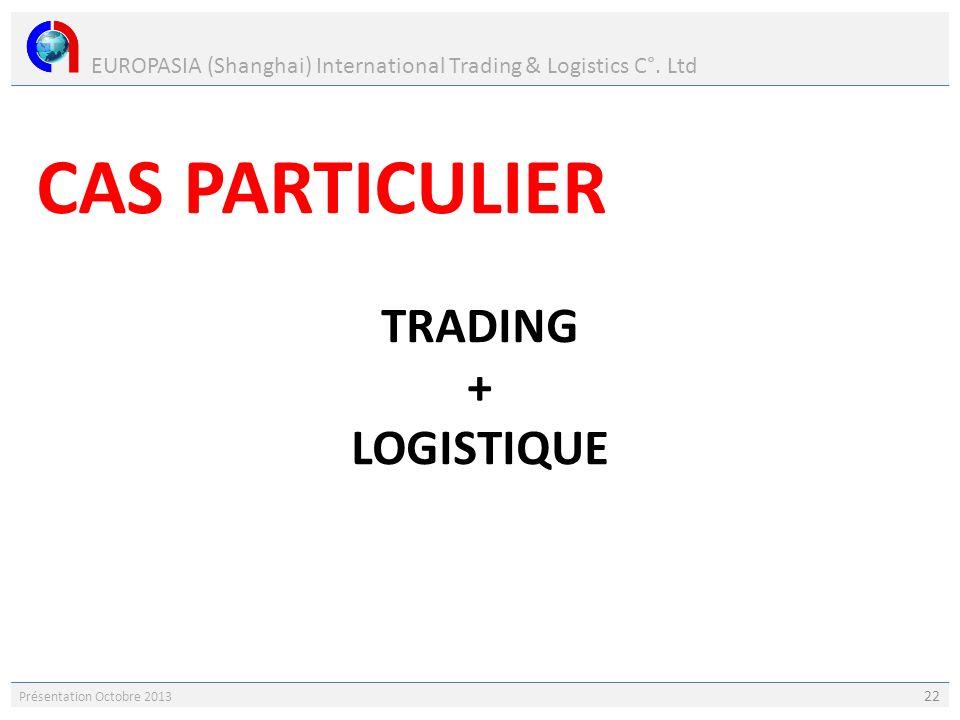 EUROPASIA (Shanghai) International Trading & Logistics C°. Ltd Présentation Octobre 2013 22 CAS PARTICULIER TRADING + LOGISTIQUE