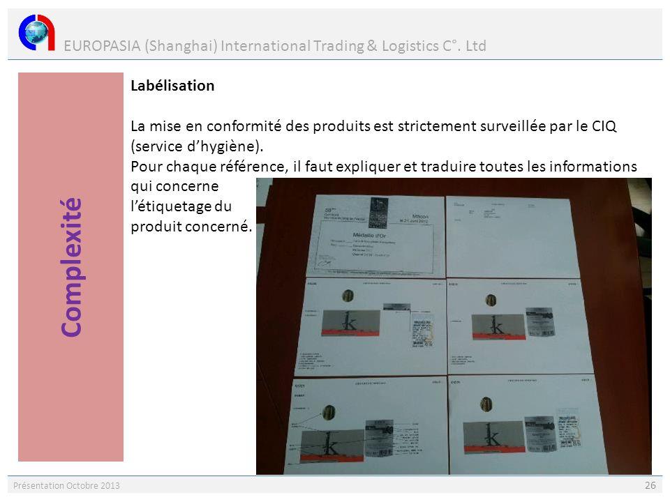 EUROPASIA (Shanghai) International Trading & Logistics C°. Ltd Présentation Octobre 2013 26 Labélisation La mise en conformité des produits est strict