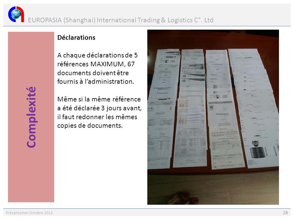 EUROPASIA (Shanghai) International Trading & Logistics C°. Ltd Présentation Octobre 2013 28 Déclarations A chaque déclarations de 5 références MAXIMUM