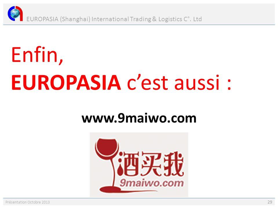 EUROPASIA (Shanghai) International Trading & Logistics C°. Ltd Présentation Octobre 2013 29 Enfin, EUROPASIA cest aussi : www.9maiwo.com