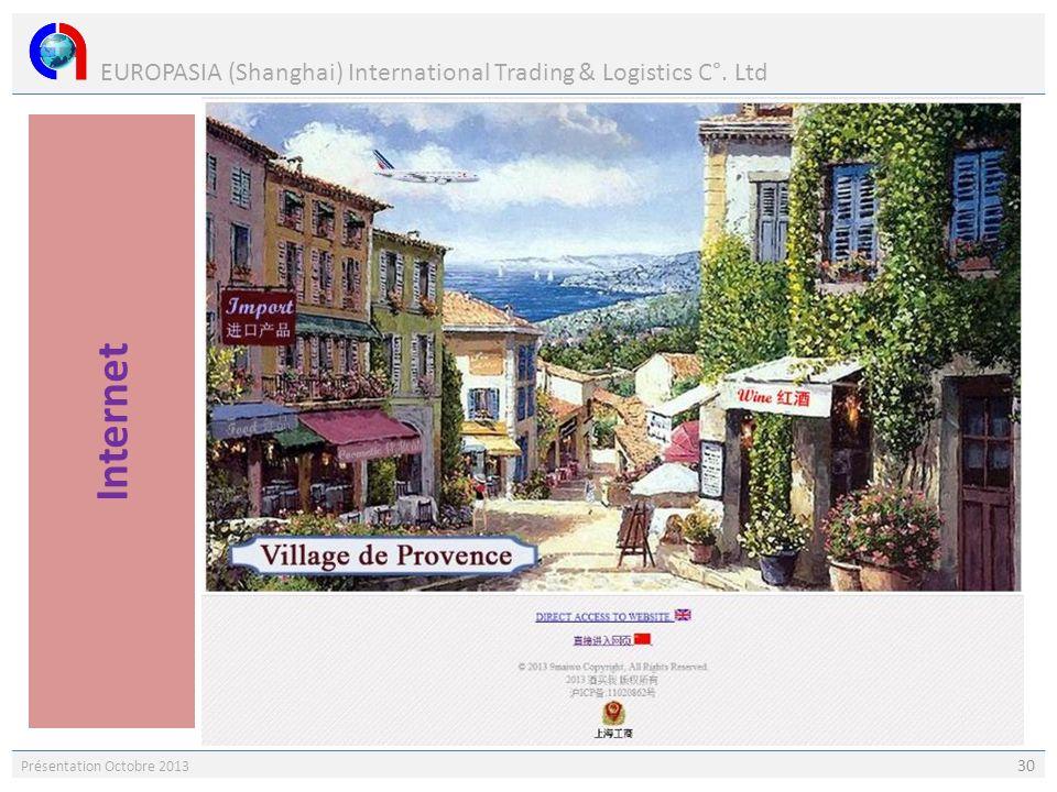 EUROPASIA (Shanghai) International Trading & Logistics C°. Ltd Présentation Octobre 2013 30 Le marché de lInternet en Chine est en plein essor. EUROPA
