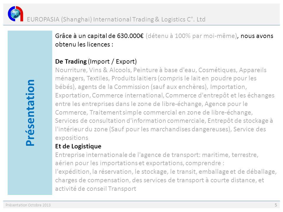 EUROPASIA (Shanghai) International Trading & Logistics C°. Ltd Présentation Octobre 2013 5 Grâce à un capital de 630.000 (détenu à 100% par moi-même),
