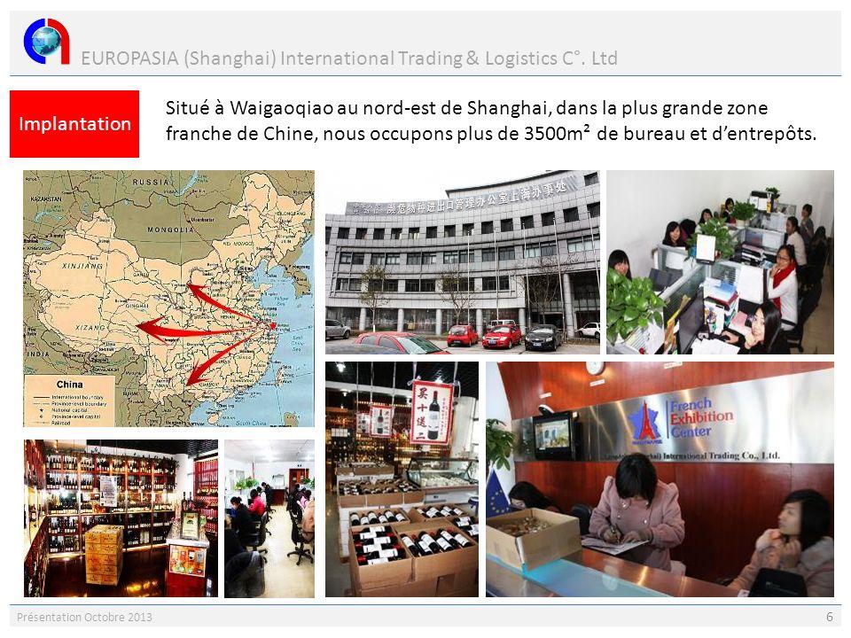 EUROPASIA (Shanghai) International Trading & Logistics C°. Ltd Présentation Octobre 2013 6 Implantation Situé à Waigaoqiao au nord-est de Shanghai, da