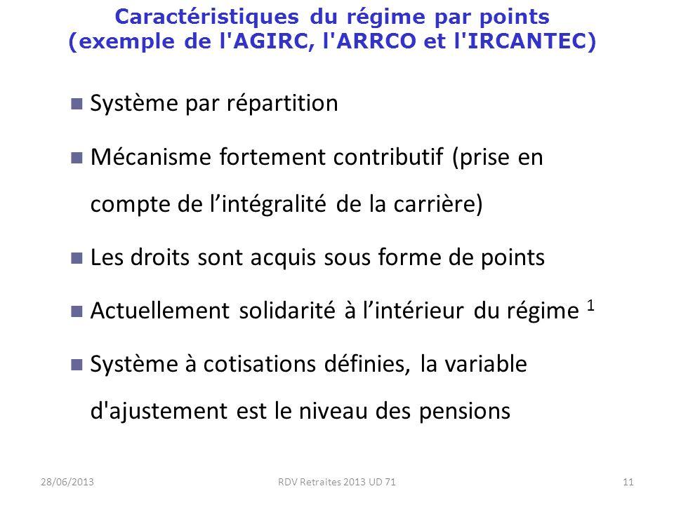 28/06/2013RDV Retraites 2013 UD 7111 Caractéristiques du régime par points (exemple de l AGIRC, l ARRCO et l IRCANTEC) Système par répartition Mécanisme fortement contributif (prise en compte de lintégralité de la carrière) Les droits sont acquis sous forme de points Actuellement solidarité à lintérieur du régime 1 Système à cotisations définies, la variable d ajustement est le niveau des pensions