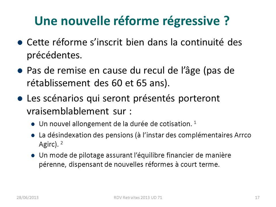 Une nouvelle réforme régressive . Cette réforme sinscrit bien dans la continuité des précédentes.