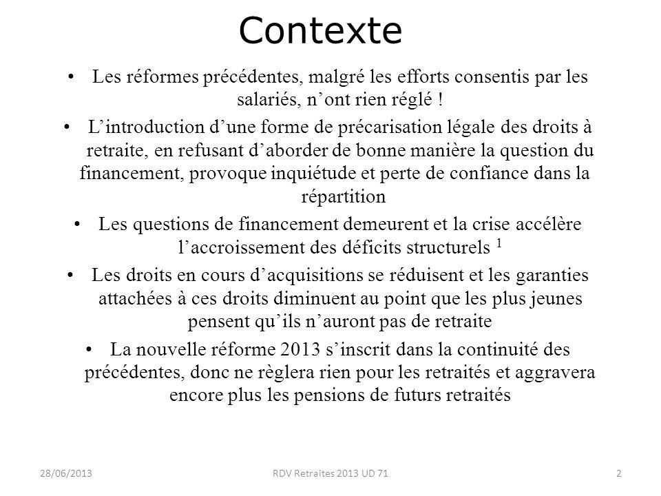 28/06/20132RDV Retraites 2013 UD 71 Contexte Les réformes précédentes, malgré les efforts consentis par les salariés, nont rien réglé .