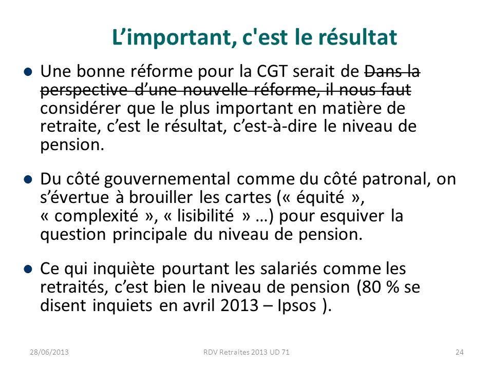 Limportant, c est le résultat Une bonne réforme pour la CGT serait de Dans la perspective dune nouvelle réforme, il nous faut considérer que le plus important en matière de retraite, cest le résultat, cest-à-dire le niveau de pension.