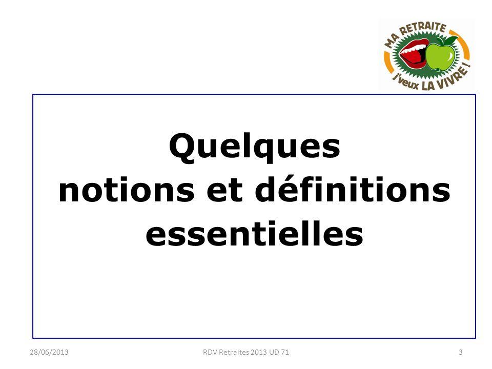 28/06/20133RDV Retraites 2013 UD 71 Quelques notions et définitions essentielles
