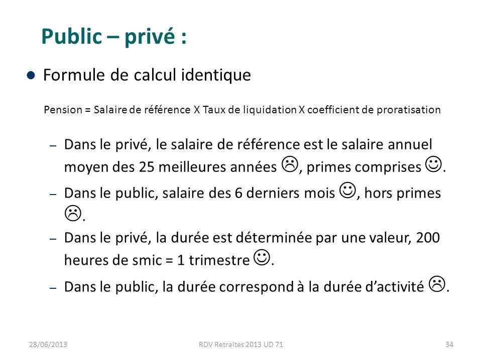 Public – privé : Formule de calcul identique Pension = Salaire de référence X Taux de liquidation X coefficient de proratisation – Dans le privé, le salaire de référence est le salaire annuel moyen des 25 meilleures années, primes comprises.