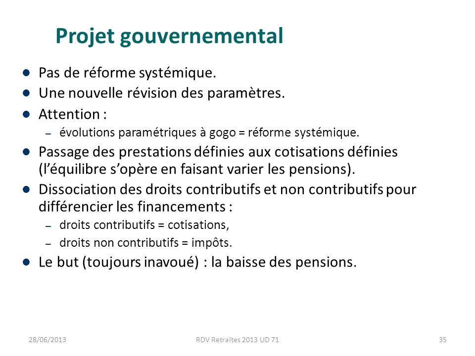 Projet gouvernemental Pas de réforme systémique. Une nouvelle révision des paramètres.