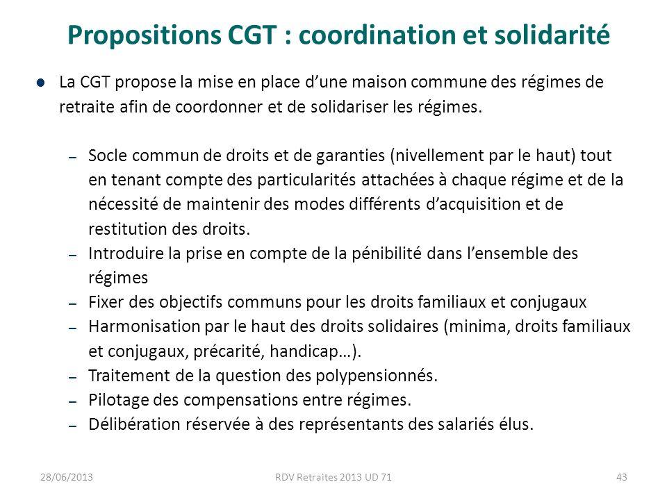 Propositions CGT : coordination et solidarité La CGT propose la mise en place dune maison commune des régimes de retraite afin de coordonner et de solidariser les régimes.