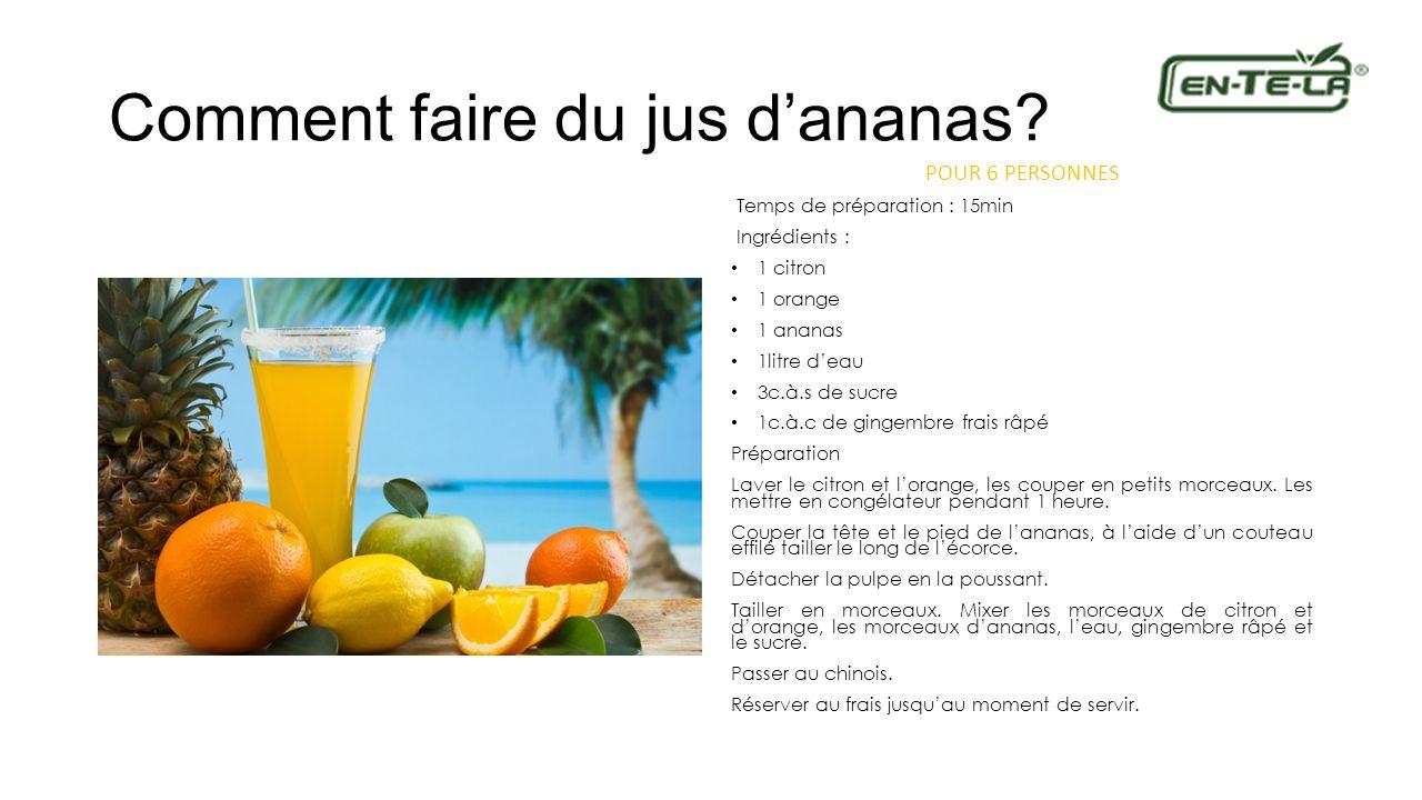 Comment faire du jus dananas? POUR 6 PERSONNES Temps de préparation : 15min Ingrédients : 1 citron 1 orange 1 ananas 1litre deau 3c.à.s de sucre 1c.à.