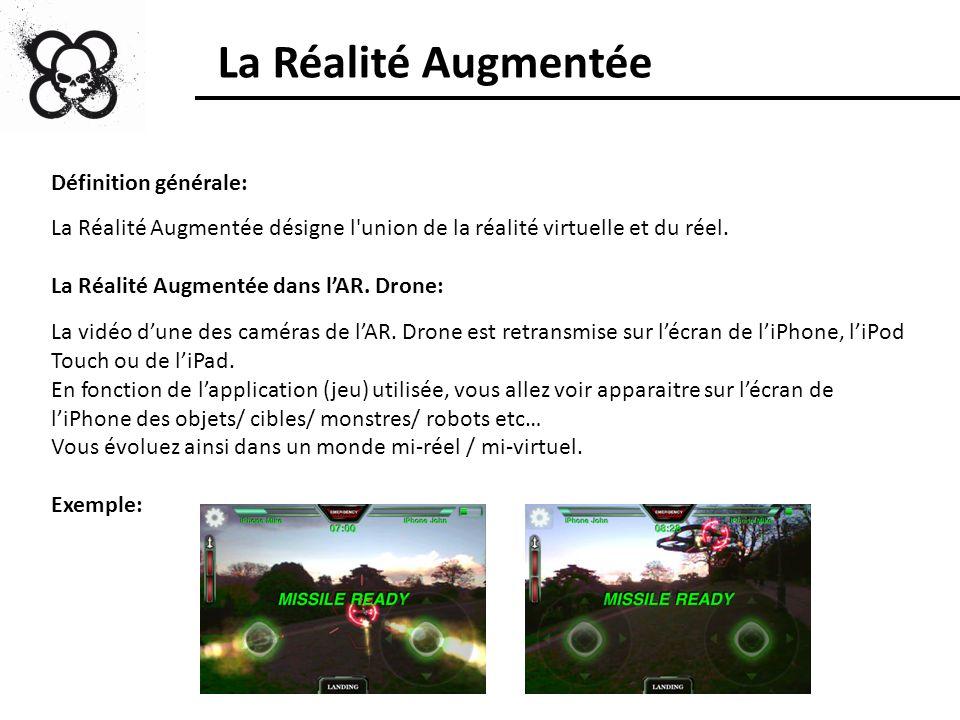 La Réalité Augmentée Définition générale: La Réalité Augmentée désigne l'union de la réalité virtuelle et du réel. La Réalité Augmentée dans lAR. Dron
