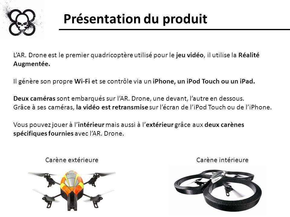 Présentation du produit LAR. Drone est le premier quadricoptère utilisé pour le jeu vidéo, il utilise la Réalité Augmentée. Il génère son propre Wi-Fi