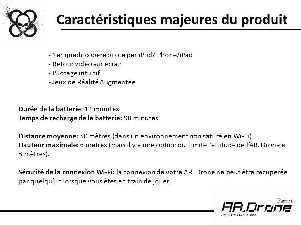 Caractéristiques majeures du produit - 1er quadricopère piloté par iPod/iPhone/iPad - Retour vidéo sur écran - Pilotage intuitif - Jeux de Réalité Aug