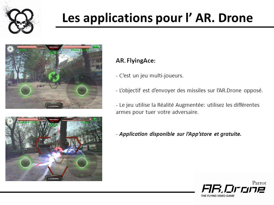 AR. FlyingAce : - Cest un jeu multi-joueurs. - Lobjectif est denvoyer des missiles sur lAR.Drone opposé. - Le jeu utilise la Réalité Augmentée: utilis