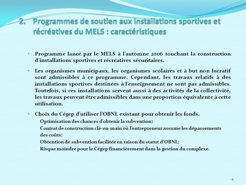 Programme lancé par le MELS à lautomne 2006 touchant la construction dinstallations sportives et récréatives sécuritaires.