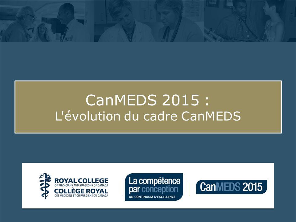 CanMEDS 2015 : les prochaines étapes 22 Après 2015 : Le cadre CanMEDS demeurera évolutif (mise à jour continue).