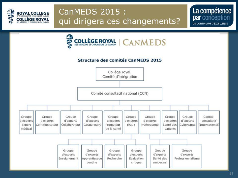CanMEDS 2015 : qui dirigera ces changements? 15