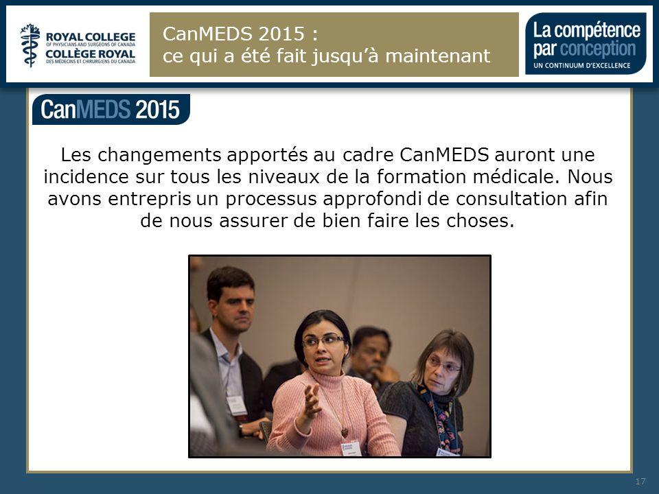 Les changements apportés au cadre CanMEDS auront une incidence sur tous les niveaux de la formation médicale. Nous avons entrepris un processus approf