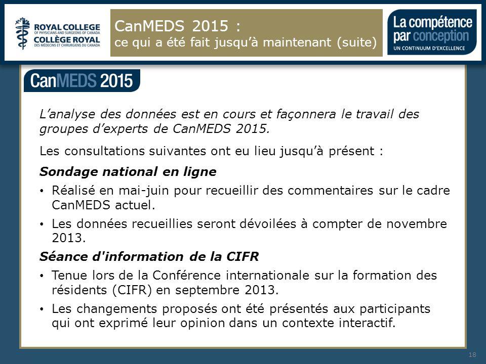 Lanalyse des données est en cours et façonnera le travail des groupes dexperts de CanMEDS 2015. Les consultations suivantes ont eu lieu jusquà présent