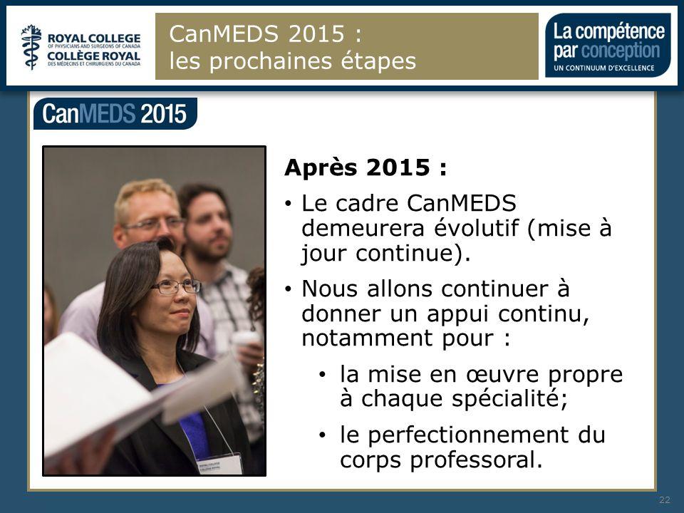 CanMEDS 2015 : les prochaines étapes 22 Après 2015 : Le cadre CanMEDS demeurera évolutif (mise à jour continue). Nous allons continuer à donner un app