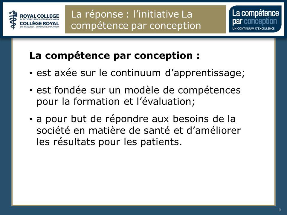La réponse : linitiative La compétence par conception 5 La compétence par conception : est axée sur le continuum dapprentissage; est fondée sur un mod