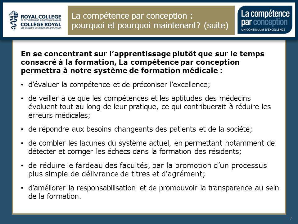 La compétence par conception : pourquoi et pourquoi maintenant? (suite) 7 En se concentrant sur lapprentissage plutôt que sur le temps consacré à la f