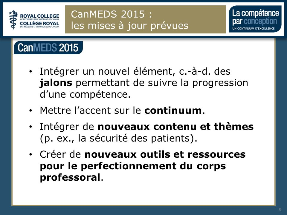 CanMEDS 2015 : les mises à jour prévues 9 Intégrer un nouvel élément, c.-à-d. des jalons permettant de suivre la progression dune compétence. Mettre l