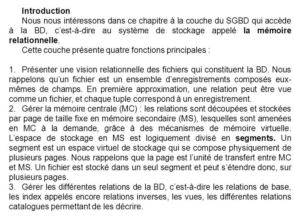 Introduction Nous nous intéressons dans ce chapitre à la couche du SGBD qui accède à la BD, cest-à-dire au système de stockage appelé la mémoire relationnelle.