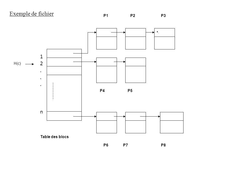 . H(c) P4P5 P6P7P8 Table des blocs P1P2P3 Exemple de fichier 12...n12...n
