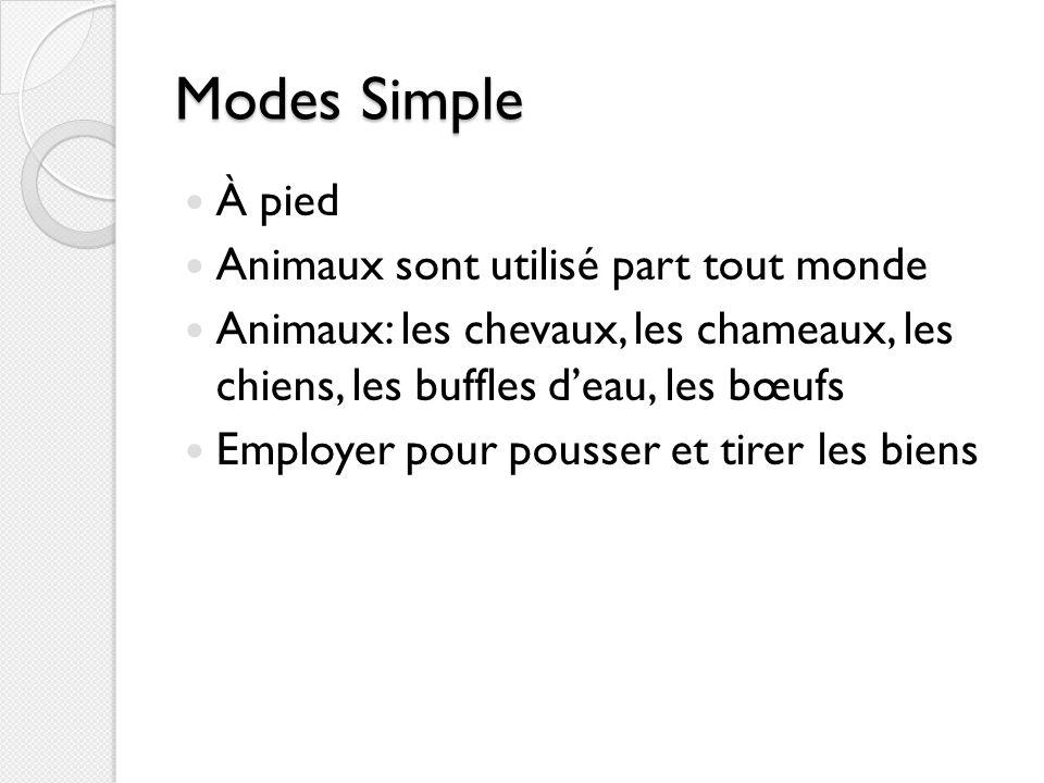 Modes Simple À pied Animaux sont utilisé part tout monde Animaux: les chevaux, les chameaux, les chiens, les buffles deau, les bœufs Employer pour pou