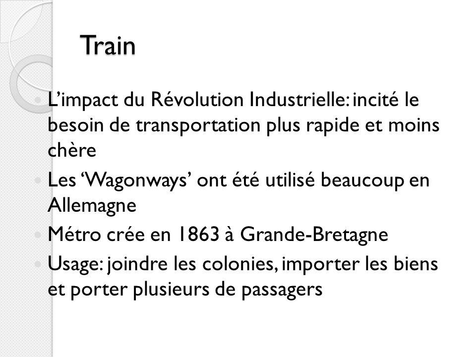 Train Limpact du Révolution Industrielle: incité le besoin de transportation plus rapide et moins chère Les Wagonways ont été utilisé beaucoup en Alle