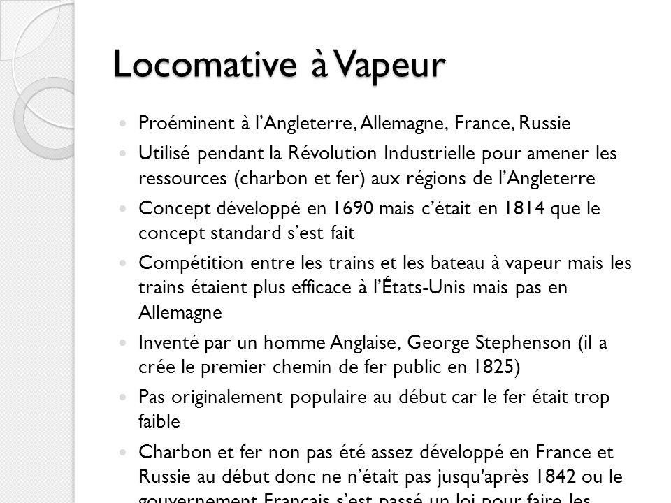 Locomative à Vapeur Proéminent à lAngleterre, Allemagne, France, Russie Utilisé pendant la Révolution Industrielle pour amener les ressources (charbon