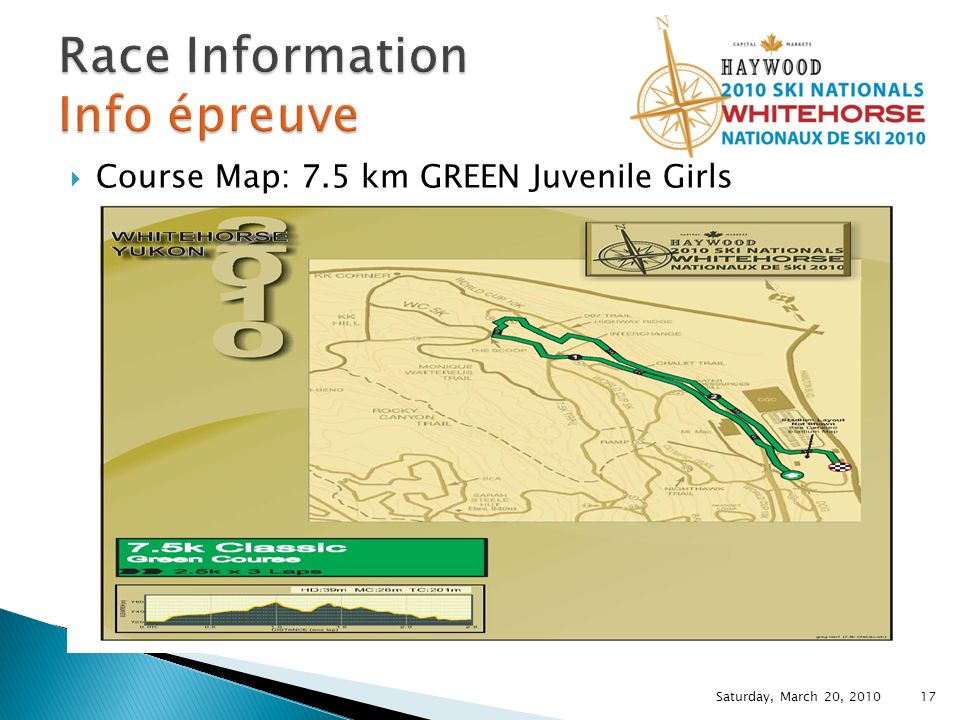 Course Map: 7.5 km GREEN Juvenile Girls Saturday, March 20, 2010 17