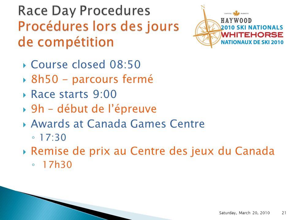 Course closed 08:50 8h50 - parcours fermé Race starts 9:00 9h – début de lépreuve Awards at Canada Games Centre 17:30 Remise de prix au Centre des jeux du Canada 17h30 Saturday, March 20, 2010 21