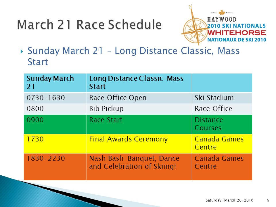 Sunday March 21 – Long Distance Classic, Mass Start Saturday, March 20, 2010 Sunday March 21 Long Distance Classic-Mass Start 0730-1630Race Office OpenSki Stadium 0800Bib PickupRace Office 0900Race StartDistance Courses 1730Final Awards CeremonyCanada Games Centre 1830-2230Nash Bash-Banquet, Dance and Celebration of Skiing.