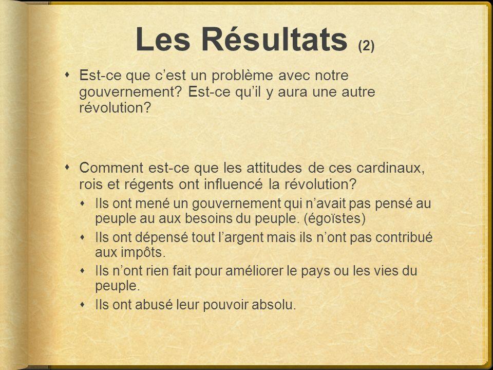 Les Résultats (2) Est-ce que cest un problème avec notre gouvernement? Est-ce quil y aura une autre révolution? Comment est-ce que les attitudes de ce