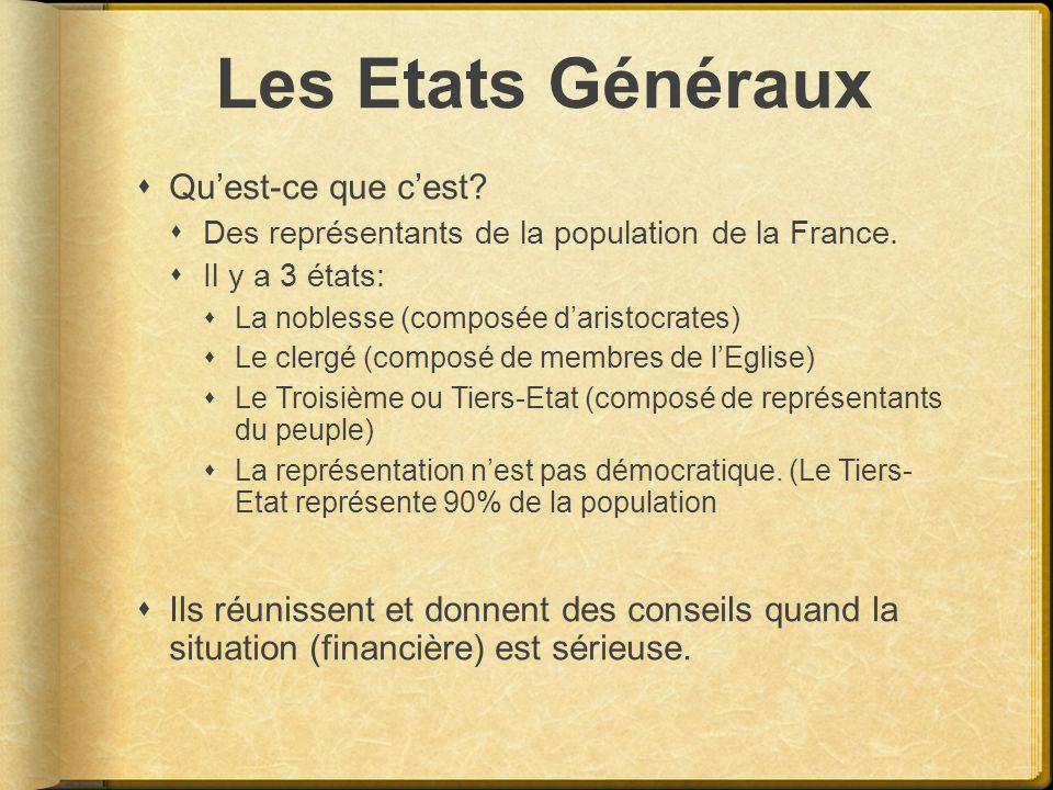 Les Etats Généraux Quest-ce que cest? Des représentants de la population de la France. Il y a 3 états: La noblesse (composée daristocrates) Le clergé