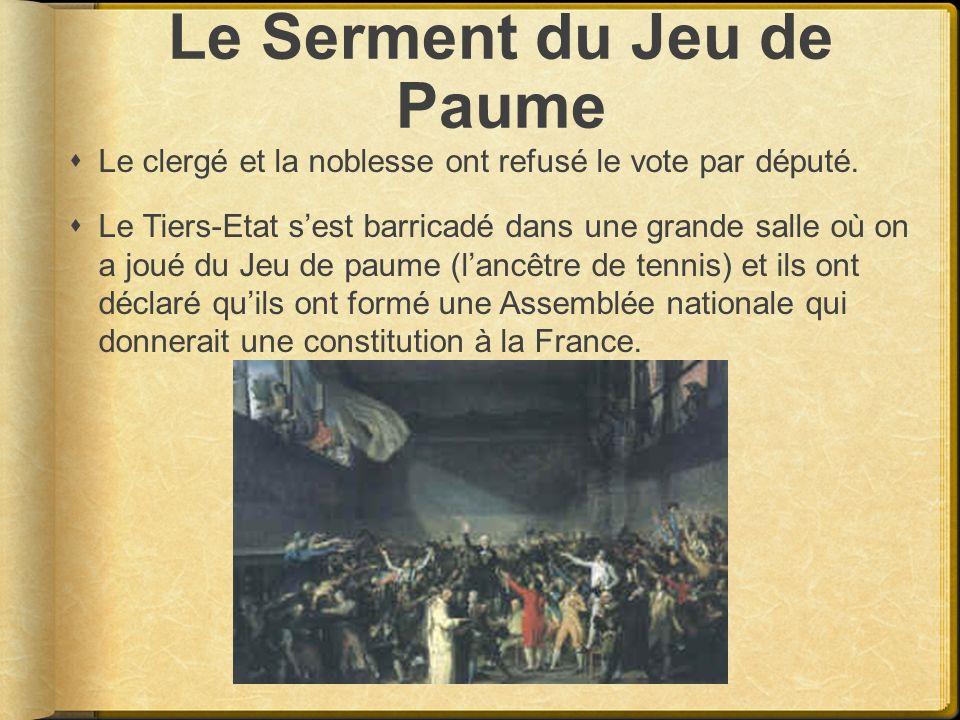 Le Serment du Jeu de Paume Le clergé et la noblesse ont refusé le vote par député. Le Tiers-Etat sest barricadé dans une grande salle où on a joué du