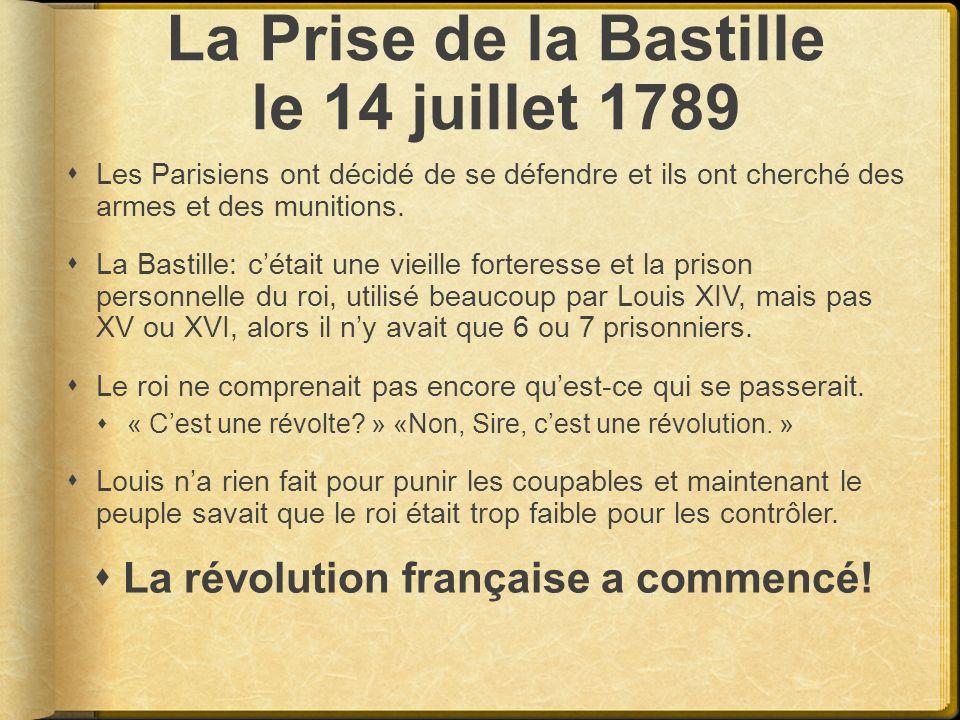 La Prise de la Bastille le 14 juillet 1789 Les Parisiens ont décidé de se défendre et ils ont cherché des armes et des munitions. La Bastille: cétait