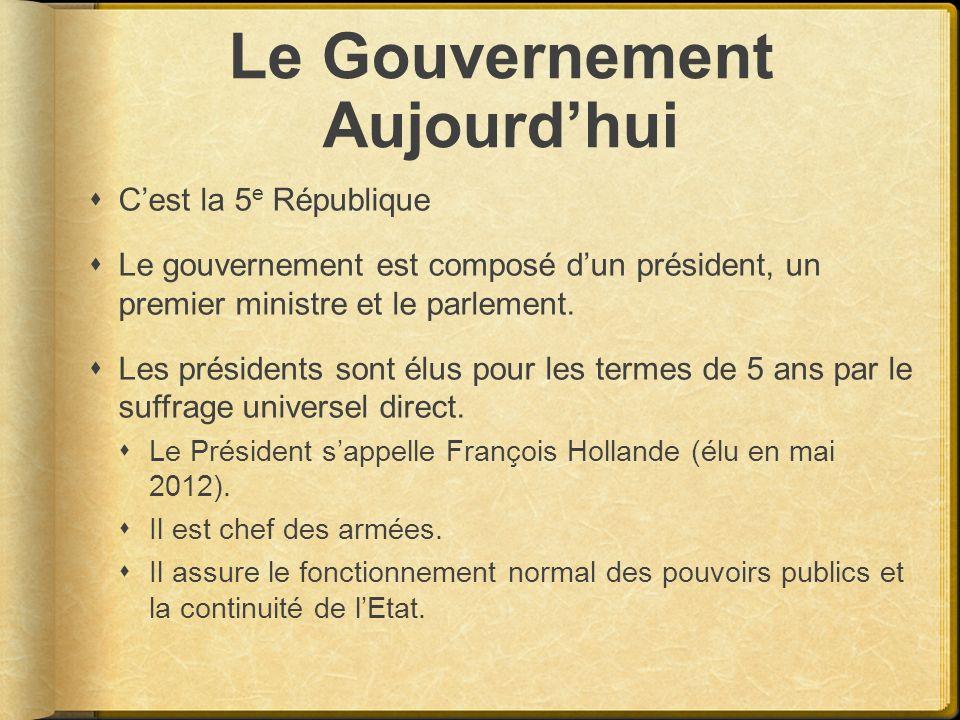 Le Gouvernement Aujourdhui Cest la 5 e République Le gouvernement est composé dun président, un premier ministre et le parlement. Les présidents sont
