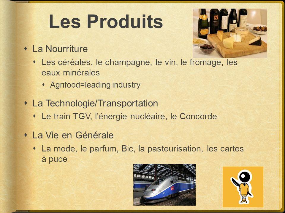 Les Produits La Nourriture Les céréales, le champagne, le vin, le fromage, les eaux minérales Agrifood=leading industry La Technologie/Transportation