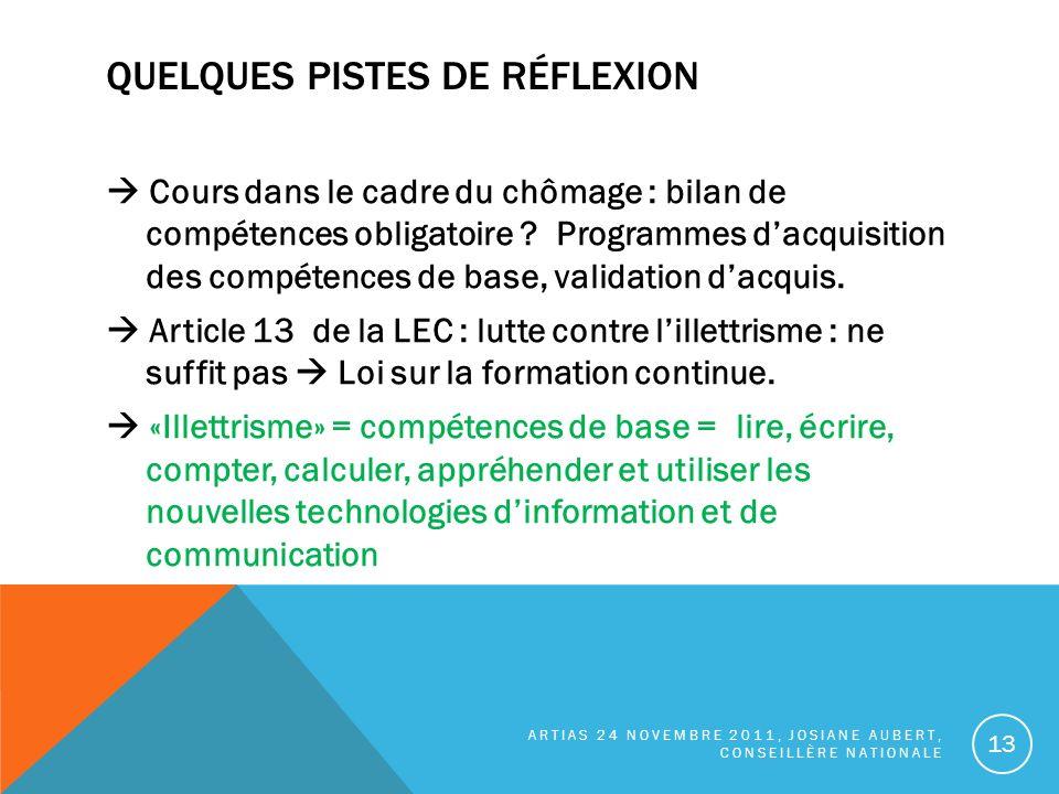 QUELQUES PISTES DE RÉFLEXION Cours dans le cadre du chômage : bilan de compétences obligatoire .