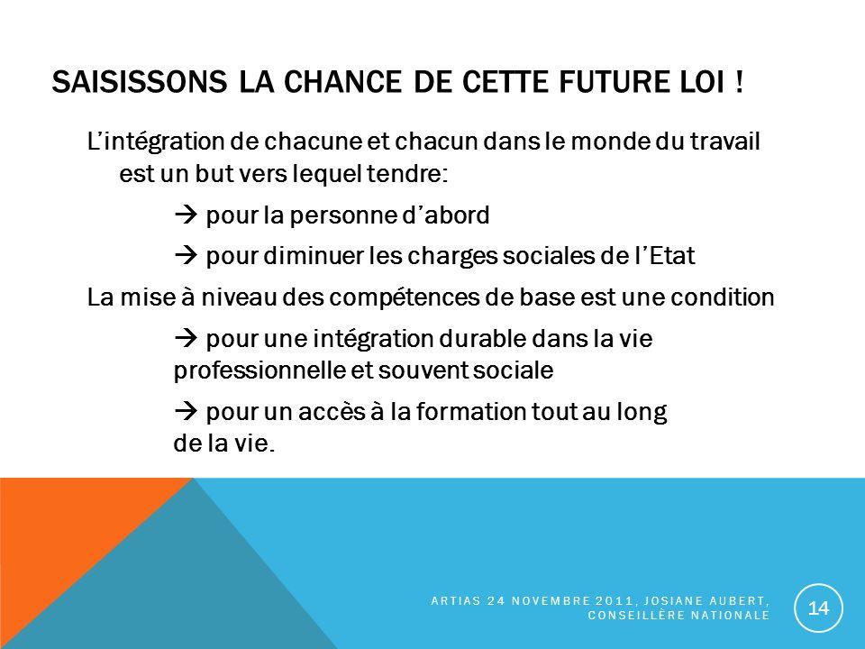 SAISISSONS LA CHANCE DE CETTE FUTURE LOI .