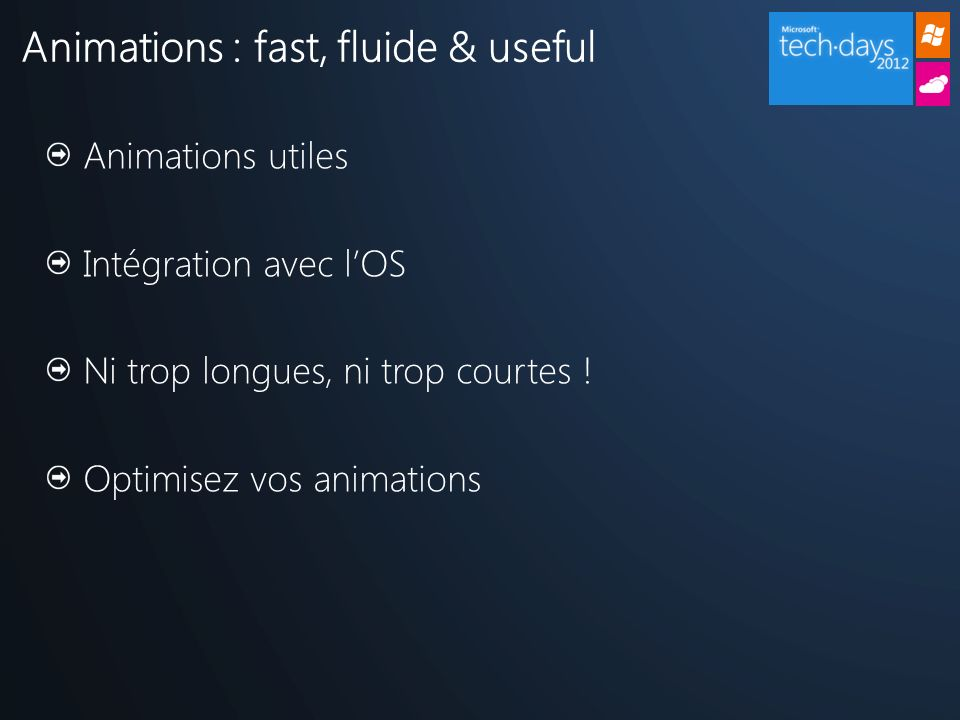 Animations utiles Intégration avec lOS Ni trop longues, ni trop courtes ! Optimisez vos animations Animations : fast, fluide & useful