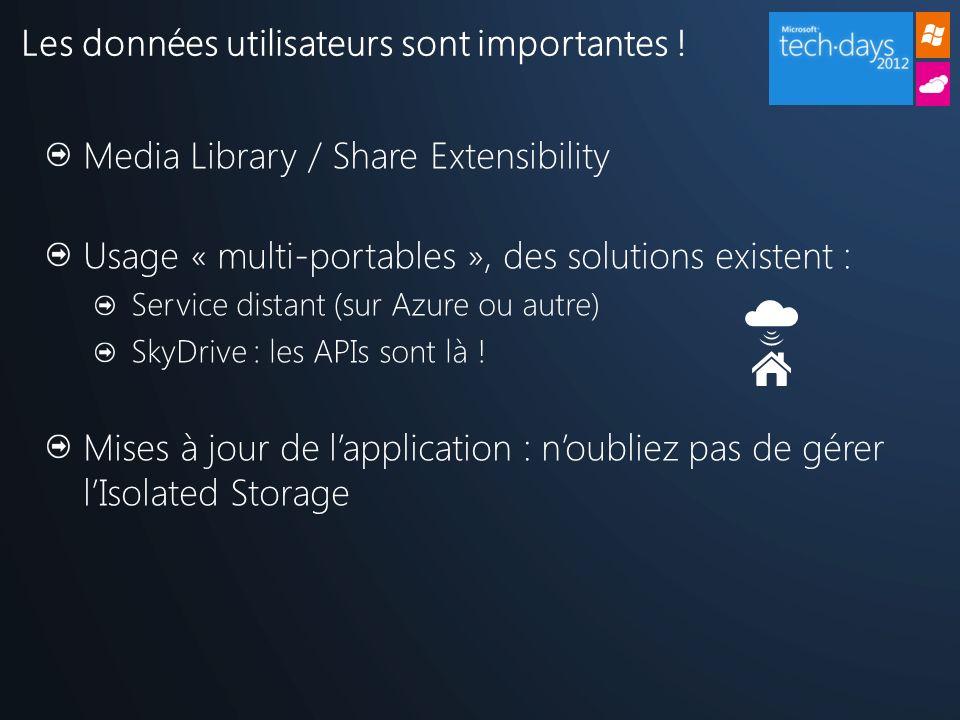Les données utilisateurs sont importantes ! Media Library / Share Extensibility Usage « multi-portables », des solutions existent : Service distant (s