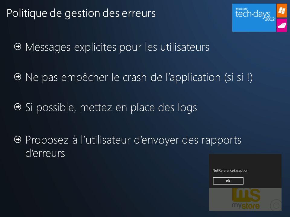 Politique de gestion des erreurs Messages explicites pour les utilisateurs Ne pas empêcher le crash de lapplication (si si !) Si possible, mettez en p